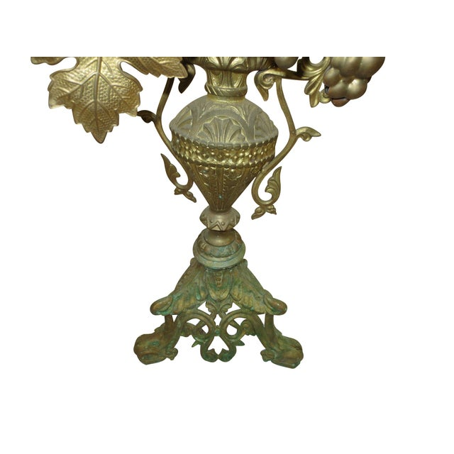 Tall Brass Floral Candleholder - Image 2 of 8