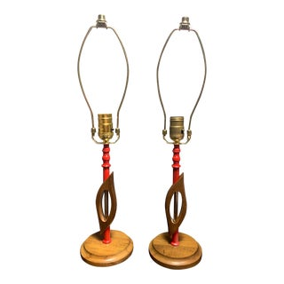Mid-Century Modern Wood & Red Metal Lamp- - a Pair For Sale