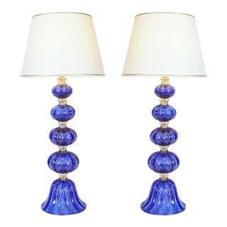 1990s Cobalt Blue Gold Fleck Table Lamps - For Sale
