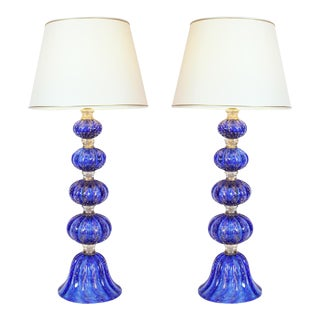Exquisite Pair of Cobalt Blue With Gold Flecks Table Lamps For Sale