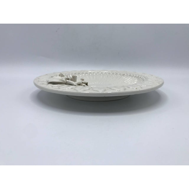 White 1970s Italian Ceramic Plate With Floral Motif Sculpture For Sale - Image 8 of 9