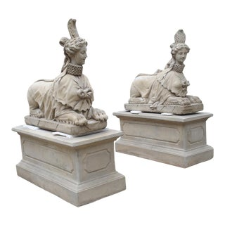 Pair of Large Cast Stone Sphinxes on Pedestal Bases For Sale