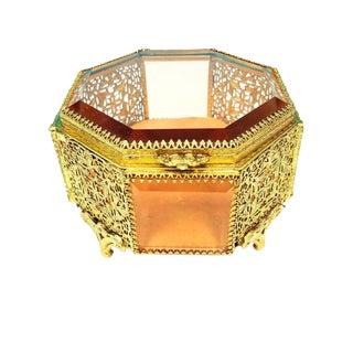 Ormolu Gold Filigree Ornate Casket Jewelry Trinket Box