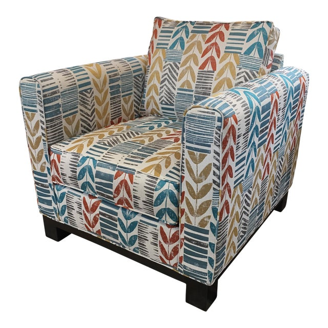 Custom Contemporary Leaf Motif Upholstered Arm Chair - Image 1 of 11
