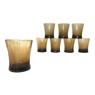 Libbey Smokey Brown Lowball Glasses, - Set of 8 For Sale