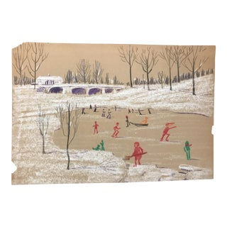 Mid-Century Evelyn Underwood Ice Skating Pastel Drawing For Sale