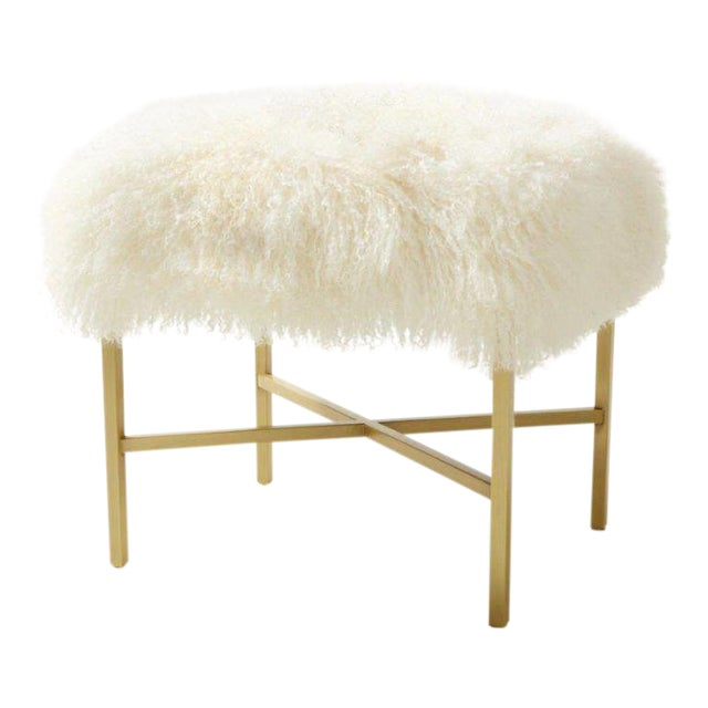 Tibetan Lamb Upholstered & Satin Brass Bench For Sale