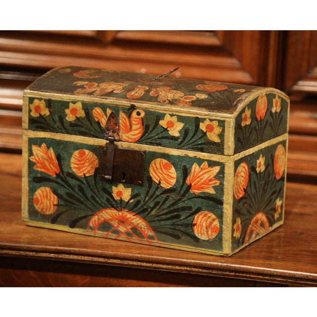 18th Century French Painted Trunk with Birds and Flowers from Normandy - Image 2 of 8