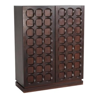 Brutalist Mahogany Bar Cabinet De Coene - 1970s For Sale