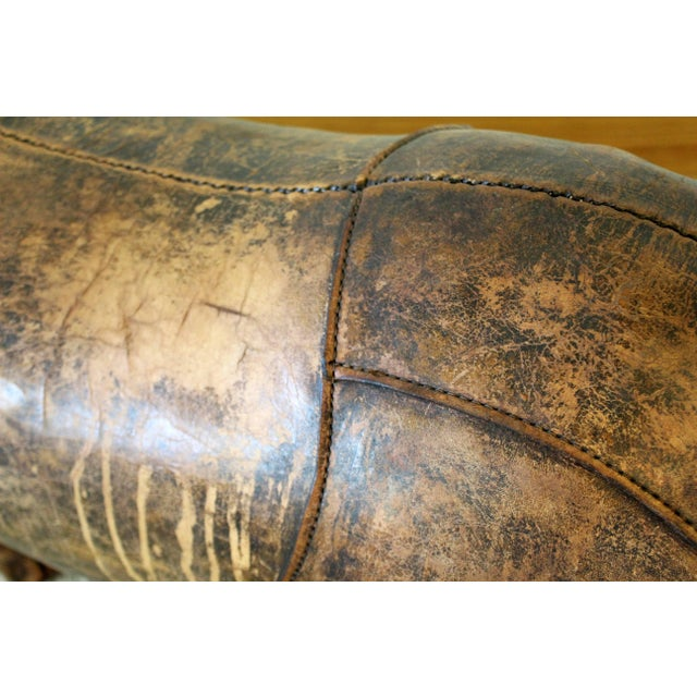 Brown 1960s Vintage Omersa for Abercrombie & Fitch Leather Rhino Footstool For Sale - Image 8 of 10