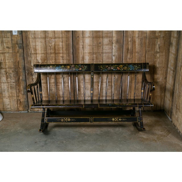 Early American American Wooden Mammy Bench Rocker, circa 1890, Hand-Painted by Lew Hudnall For Sale - Image 3 of 7