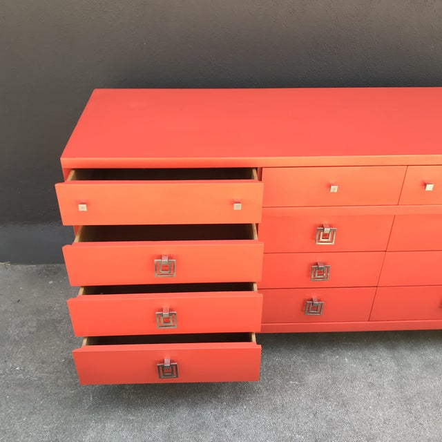 Mid Century Restored Lacquered 12~Drawer Dresser For Sale - Image 4 of 13