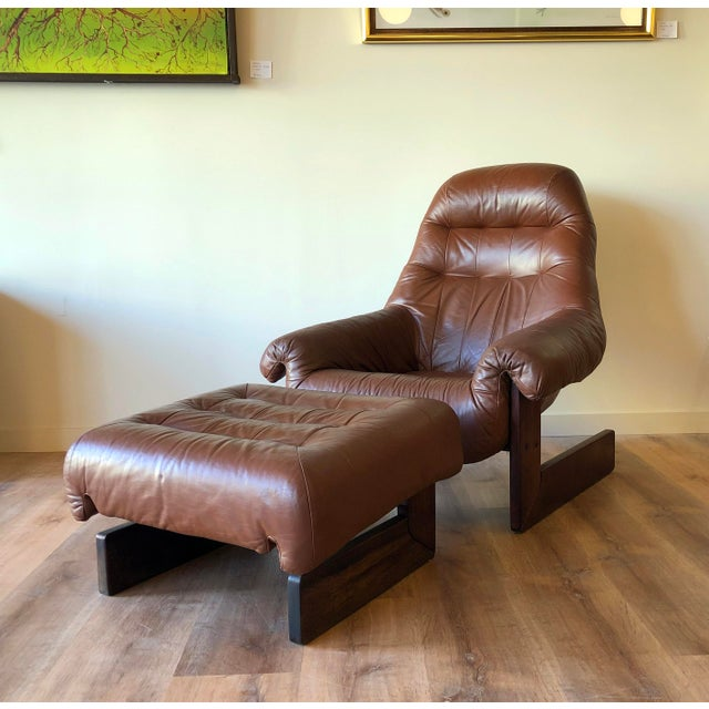 Mid-Century Modern Vintage Percival Lafer Tufted Leather Lounge Chair & Ottoman With Rosewood Frame For Sale - Image 3 of 13
