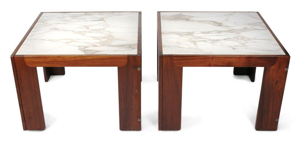 Tobia Scarpa For Cassina Marble Topped Rosewood Framed Tables   A Pair    Image 2 Of