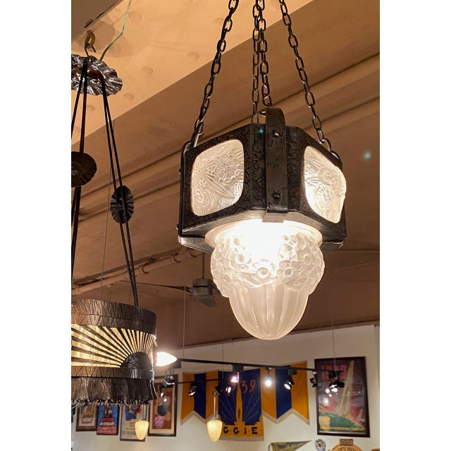 French Iron Art Deco Hanging light with Muller Style Multiple Glass For Sale - Image 9 of 10