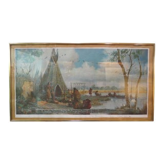 Antique Style Native American Lifestyle Print by Lee Beaman C. 1977 For Sale