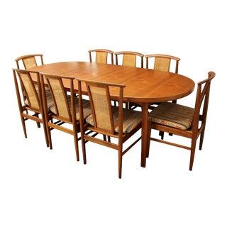 Mid Century Modern Folke Olsson Dux Dining Set Table 8 Chairs 1960s Teak Cane