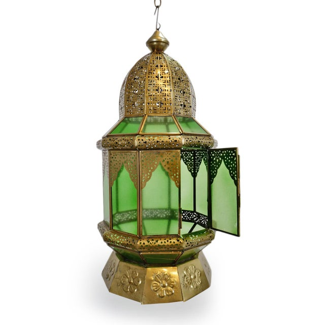 Indian Moorish Brass & Green Glass Lantern For Sale - Image 3 of 6