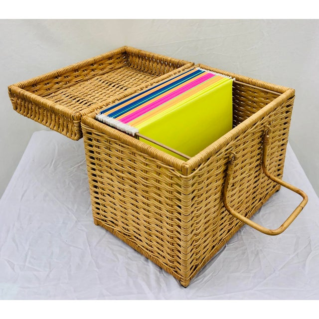 Henry Link Woven Wicker Filing Box For Sale - Image 4 of 12