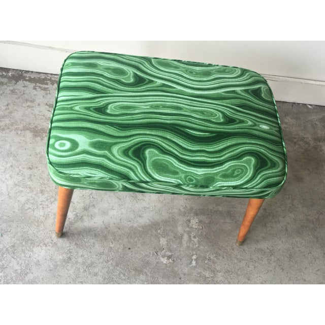 Mid-Century Modern Malachite Green Upholstered Stool For Sale - Image 4 of 9
