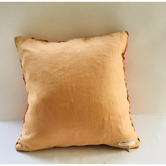 Orange Dransfield & Ross Orange Lace Scroll on Linen Decorative Pillow For Sale - Image 8 of 13
