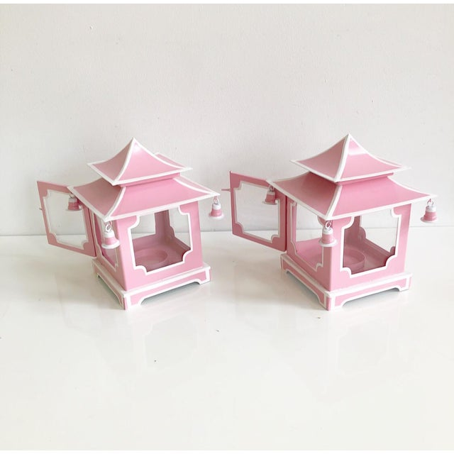 Pair of Pink Pagoda Candle Lanterns With White Stripe Detail With Bells For Sale - Image 11 of 13