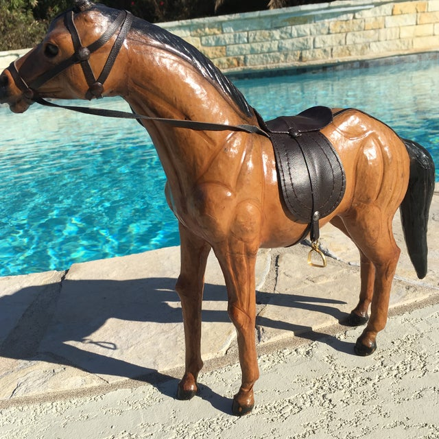 Vintage Equestrian Leather Saddled Horse - Image 8 of 10