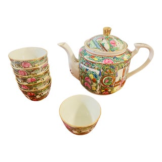 A Chinoiserie Rose Famille Teapot With 6 Cups For Sale