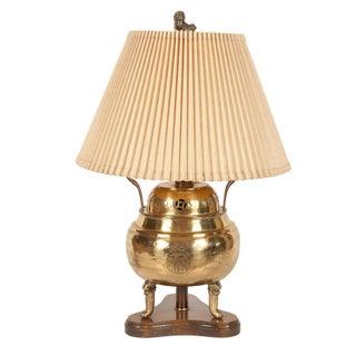 Vintage Brass Lamp - Asian Motif