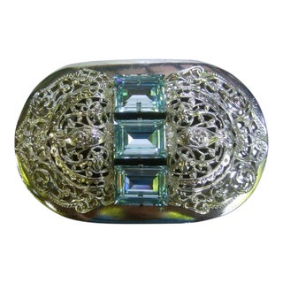 Italian Aquamarine Crystal Silver Filigree Belt Buckle For Sale