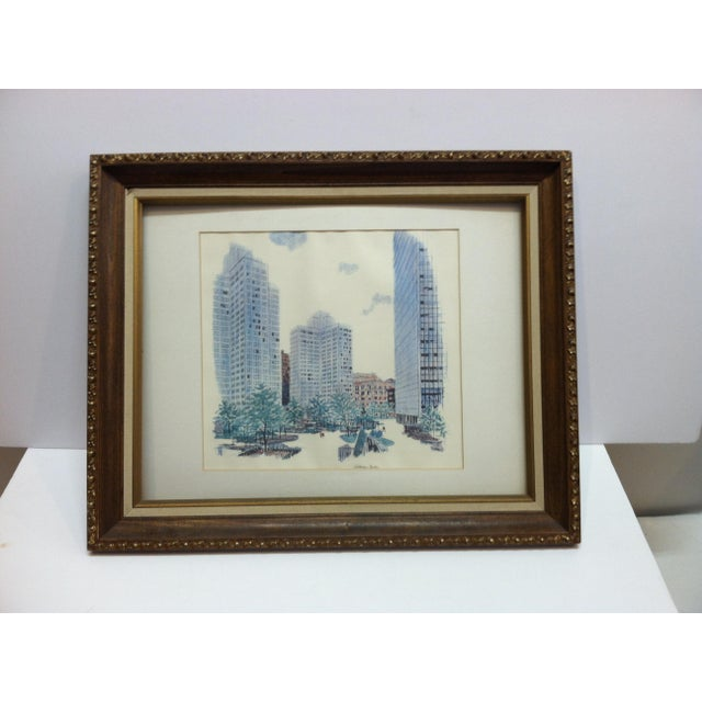 """1970s 1970s Vintage """"Gateway Center"""" Pittsburgh, Pa Framed & Matted Print For Sale - Image 5 of 5"""