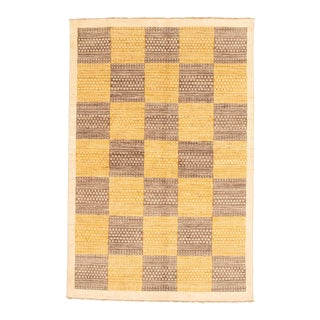 "Yellow Hand-Knotted Rug-5'7"" X 8'7"" For Sale"