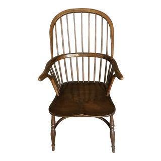 Antique Hoop Back Brown Windsor Chair For Sale