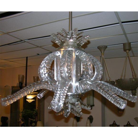 1950s 1950s Crystal Chandelier by Marc Lalique For Sale - Image 5 of 5