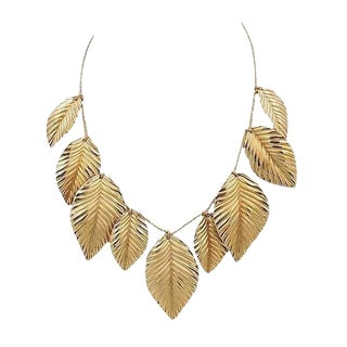 Napier Frosted Leaves Necklace, 1981 For Sale