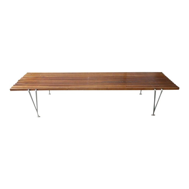 Mid Century Modern Hugh Acton Slatted Wood Bench For Sale