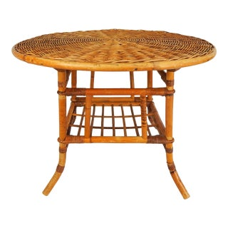 Woven Rattan & Bamboo Side Table For Sale