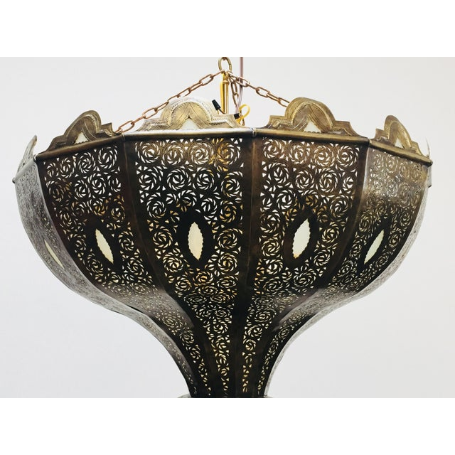 Large Brass Moroccan Chandelier For Sale - Image 10 of 12