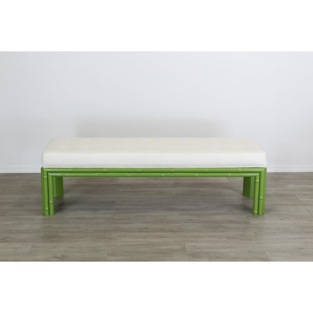 White Mid-Century Apple Green Faux Bamboo Bench With Linen Cushion, Green Bamboo Bench, Cream Linen Bench For Sale - Image 8 of 8