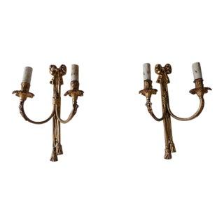 c 1900 French Cast Bronze Bows & Tassels Sconces For Sale