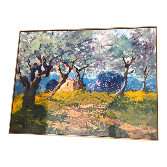 Contemporary Tuscan Hand Scrape Painting For Sale
