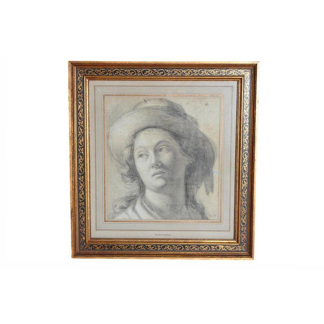 18th Century Charcoal Drawing of a Young Lady Wearing a Hat For Sale - Image 13 of 13