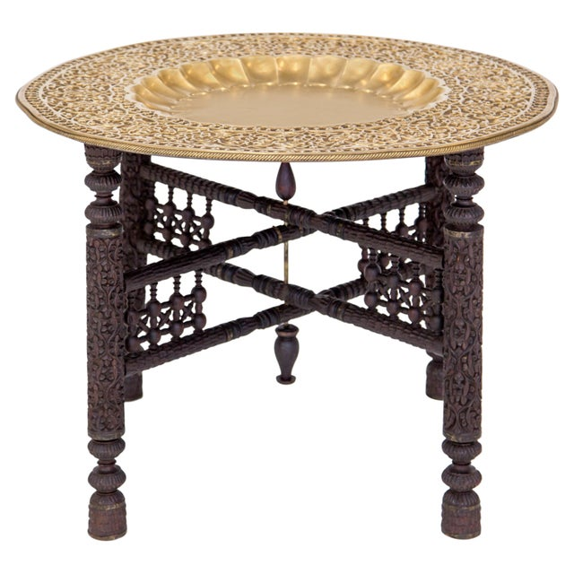 Anglo-Indian Folding Brass Tray Table For Sale - Image 11 of 12