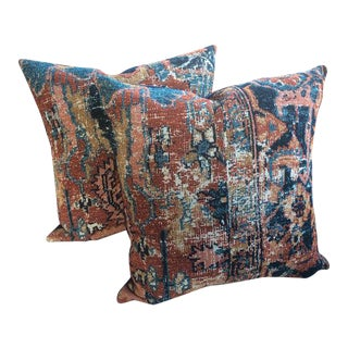 "Ralph Lauren ""Old Taddington"" Jasper Persian Rug Pillows - A Pair For Sale"