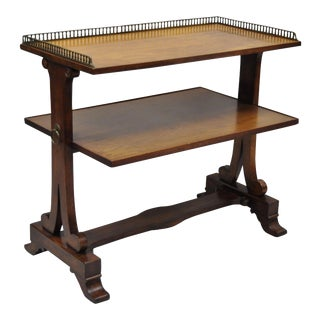 Old Colony Empire Regency Style 2 Tier Walnut Serving Table For Sale