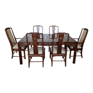 1990s Vintage Solid Oak Asian Inspired Henredon Style Parsons Table Dining Room Chairs- 7 Pieces For Sale