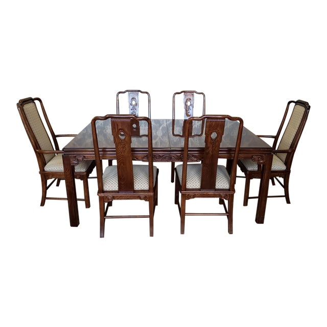 1990s Vintage Solid Oak Asian Inspired Henredon Style Parsons Table Dining Room Chairs 7 Pieces