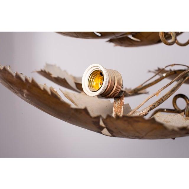 Spanish Gilt Metal Leaf Form Five Light Hanging Fixture For Sale - Image 4 of 13