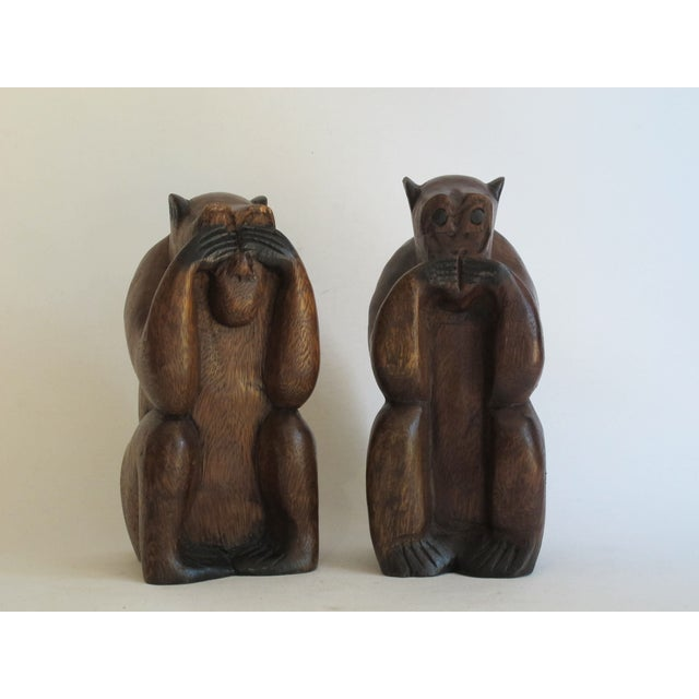Wooden Monkeys - Pair - Image 2 of 8