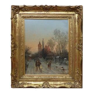 1899 European Village Landscape Oil Painting by Karl Kaufmann For Sale